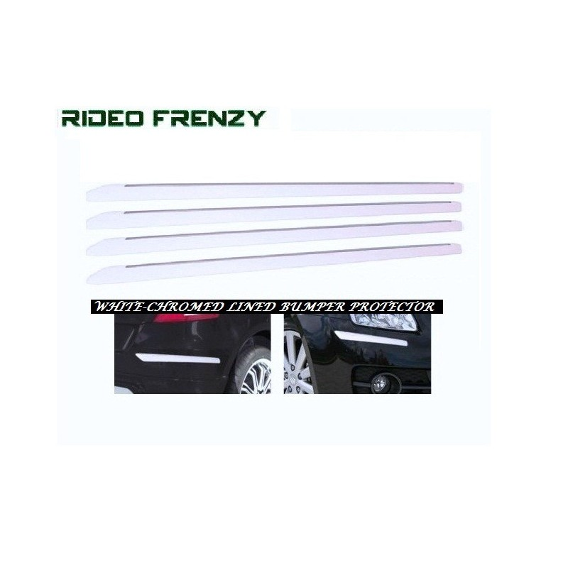 Buy Slim Line White Chrome Bumper Protectors at low prices-RideoFrenzy