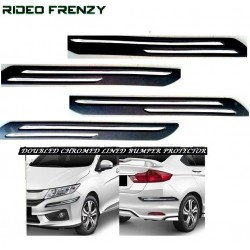 Buy Dual Chrome Lined Black Bumper Protectors at low prices-RideoFrenzy