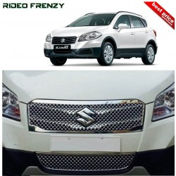 Buy Full Front Maruti S-Cross Chrome Grill Covers (upper+lower) at low prices-RideoFrenzy