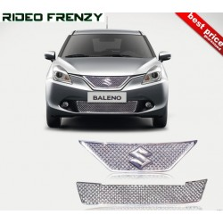Buy Full Front Maruti New Baleno Chrome Grill Covers (upper+lower) at low prices-RideoFrenzy
