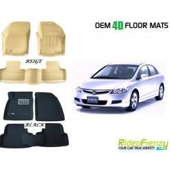 Ultra Light Bucket 4D Crocodile Floor Mats for Honda Civic