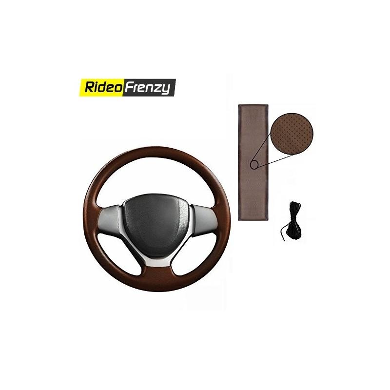 Premium Quality Original Leatherette Steering Cover-Black