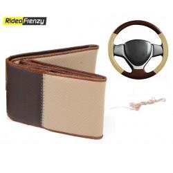 Premium Quality Original Leatherette Steering Cover-Black & Silver