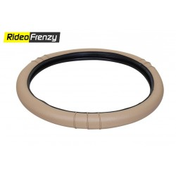 Premium Quality Soft Edge Steering Cover-Beige-Black