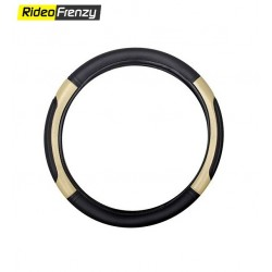 Premium Quality Soft Edge Steering Cover-Black-Silver