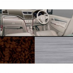 Swift Dzire/Ertiga Wooden Dashboard Trim Kit--Brushed Aluminium + Walnut Burl