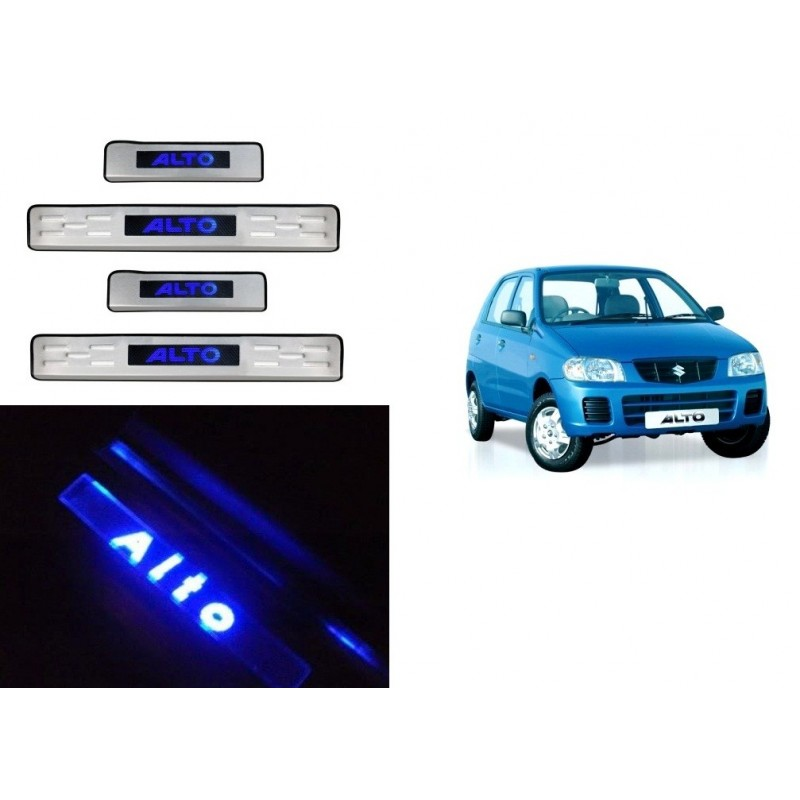 Maruti Alto Door Stainless Steel Sill Plate with Blue LED