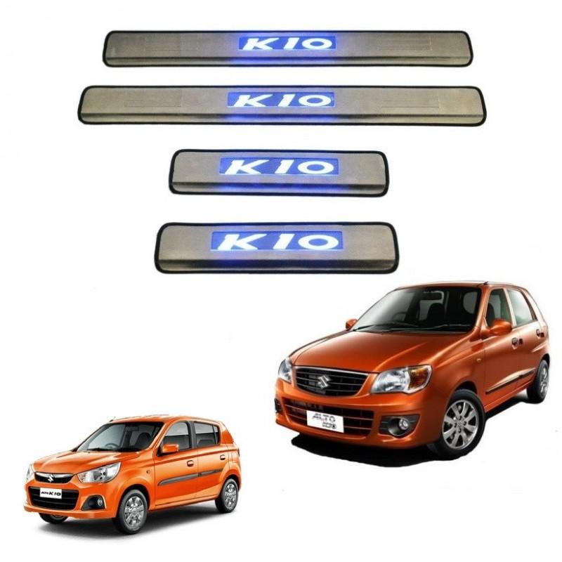 Door Stainless Steel Sill Maruti Alto K10 Door Stainless Steel Sill Plate with blue LEDPlate WITH LED ALTO K10