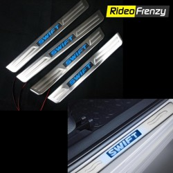 Maruti Swift Stainless Steel Sill Plates with Blue LED