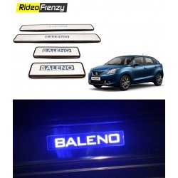Maruti Baleno Door Stainless Steel Sill Plate with blue LED
