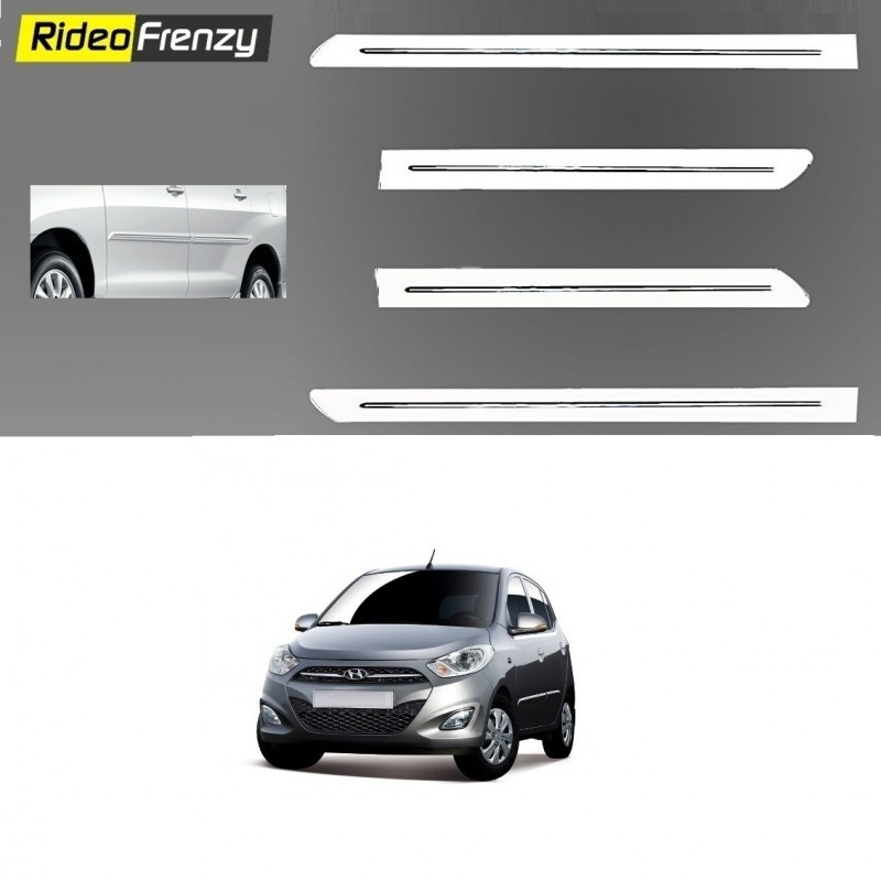 Buy Hyundai i10 White Chromed Side Beading at low prices-RideoFrenzy