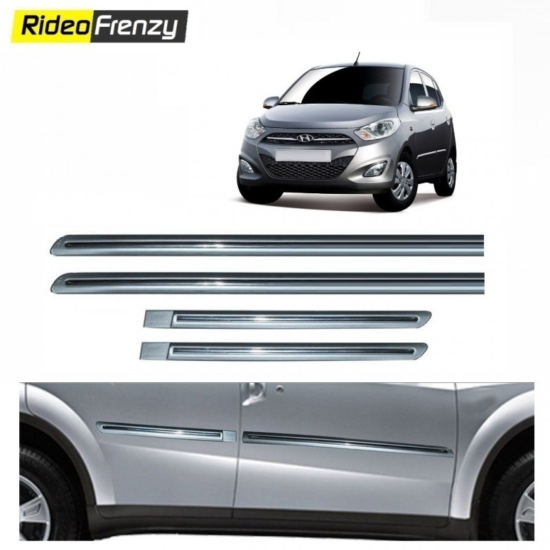 Buy Hyundai i10 Silver Chromed Side Beading at low prices-RideoFrenzy