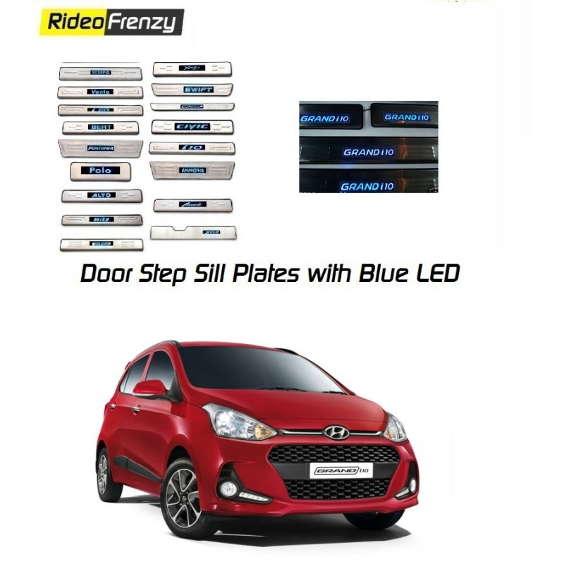 Buy Hyundai Grand i10 Stainless Steel Door Scuff Sill Plate with blue LED at low prices-RideoFrenzy