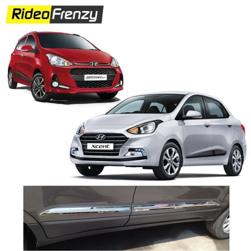Buy Stainless Steel Hyundai Grand i10 & Xcent Chrome Side Beading at low prices-RideoFrenzy