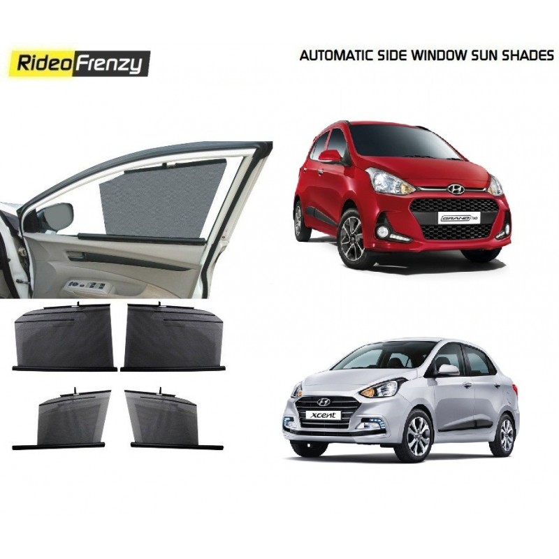 Buy Hyundai Grand i10 & Xcent Automatic Side Window Sun Shades at low prices-RideoFrenzy