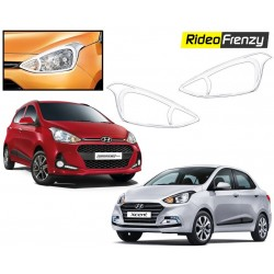 Buy Hyundai Grand i10 & Xcent Chrome HeadLight Covers at low prices-RideoFrenzy
