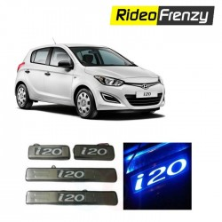 Buy Hyundai i20 Stainless Steel Door Scuff Sill Plate with blue LED at low prices-RideoFrenzy