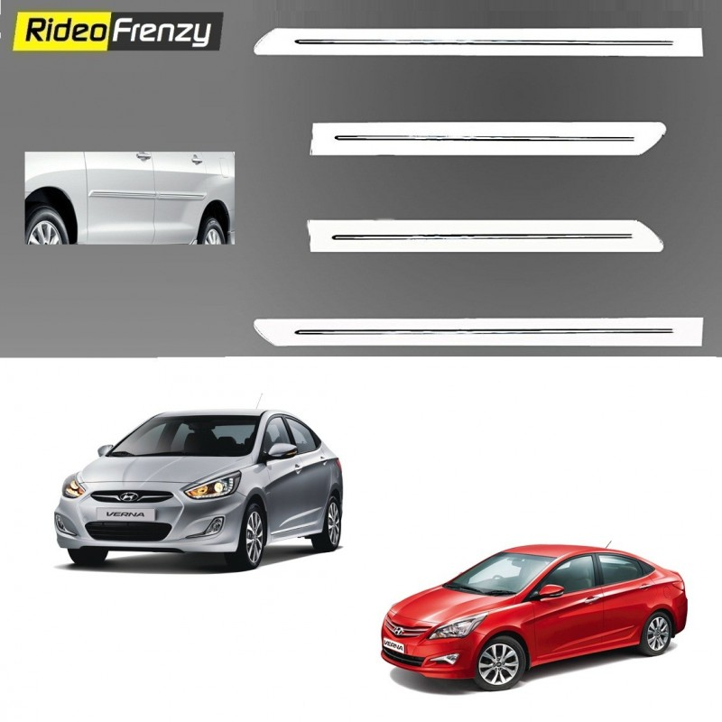 Buy Buy Hyundai VERNA Fluidic White Chromed Side beading at low prices-RideoFrenzy