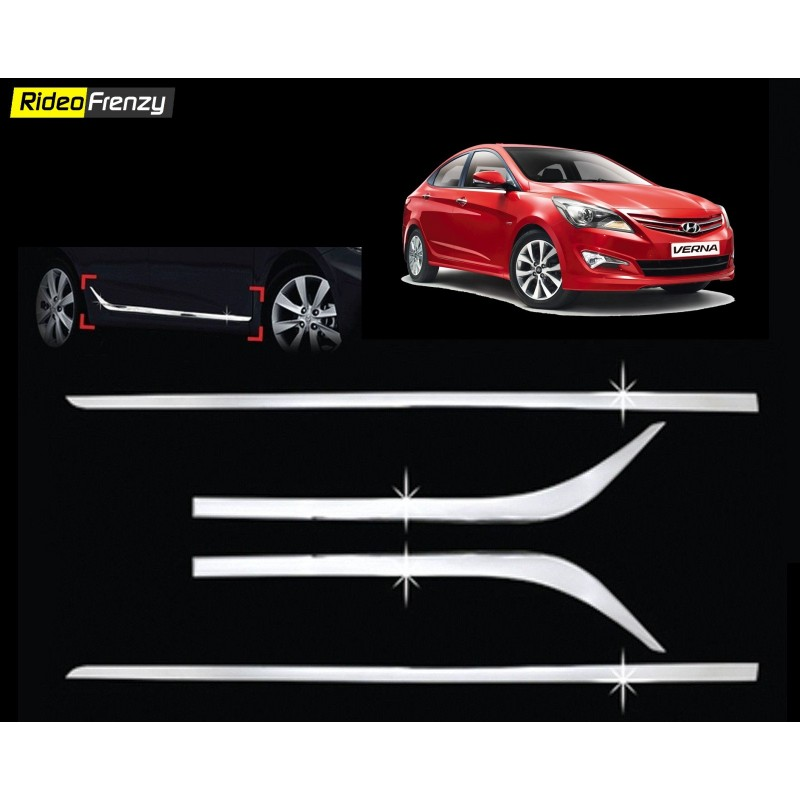 Buy Hyundai Verna Fluidic Lower Chrome Side Beading at low prices-RideoFrenzy