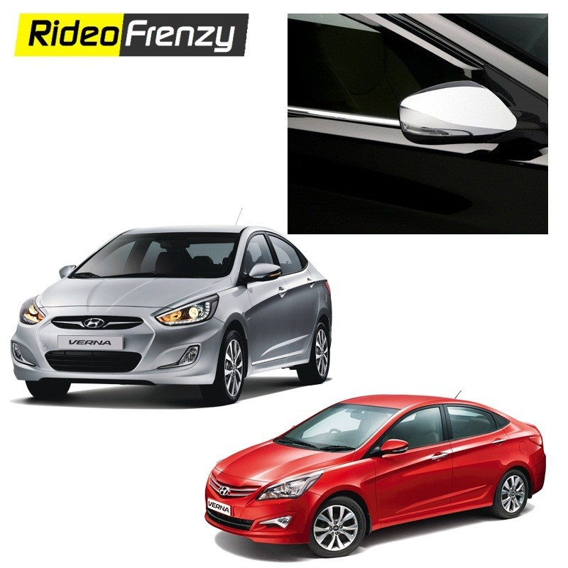 Buy Original Triple layer Hyundai Verna Fluidic Chrome Side Mirrors at low prices-RideoFrenzy