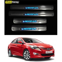 Buy Hyundai Verna Fluidic Stainless Steel Door Scuff Sill Plate with blue LED at low prices-RideoFrenzy