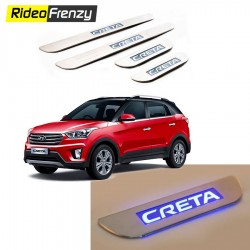 Buy Hyundai Creta Stainless Steel Door Scuff Sill Plate with blue LED at low prices-RideoFrenzy
