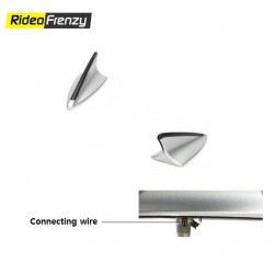 Buy Silver-Black Shark Fin Antenna with connection wire port at low prices-RideoFrenzy