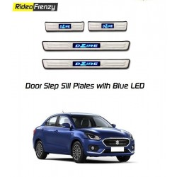 Maruti Dzire 2017 Door Stainless Steel Sill Plate with Blue LED