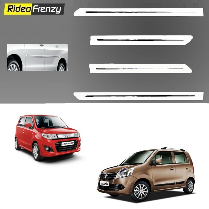 Buy Maruti WagonR & Stingray White Chrome Side beading online at low prices-RideoFrenzy