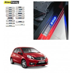 Buy Honda Brio Door Stainless Steel Sill Plate with Blue LED online at low prices-RideoFrenzy