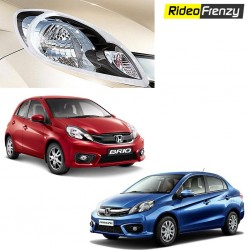 Buy Honda Amaze & Brio Chrome Head light Covers online at low prices-RideoFrenzy