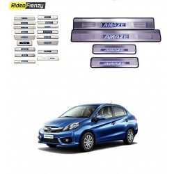 Buy Honda Amaze Door Stainless Steel Sill Plate with Blue LED online at low prices-RideoFrenzy