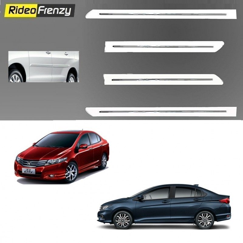 Buy Honda City Ivtec/Idtec White Chromed Side Beading online at low prices-RideoFrenzy