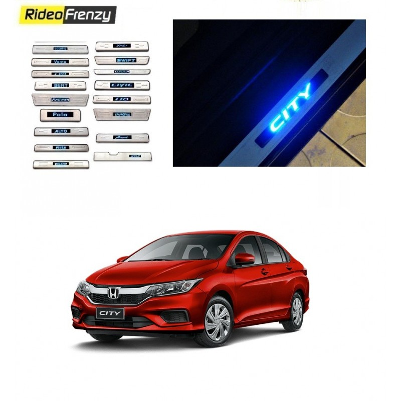 Buy Honda City Ivtec/Idtec Door Stainless Steel Sill Plate with Blue LED online at low prices-RideoFrenzy