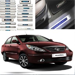 Buy Tata Manza Door Stainless Steel Sill Plate with Blue LED online at low prices-RideoFrenzy