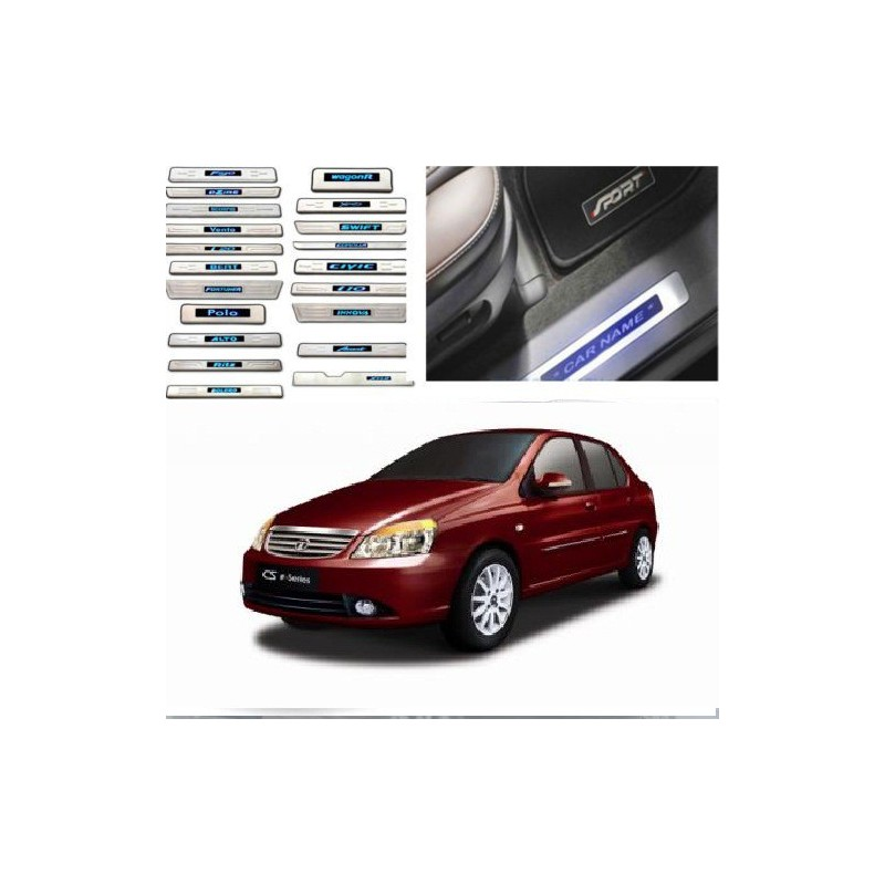 Buy Tata Indigo Door Stainless Steel Sill Plate with Blue LED online at low prices-RideoFrenzy