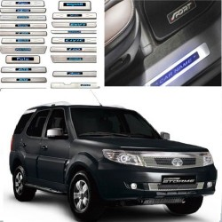 Original OEM Tata Safari Stormer Stainless Steel Sill Plate with Blue LED online at low prices-RideoFrenzy