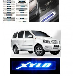Stainless Steel Door Sill Plate with Blue LED for Mahindra Xylo
