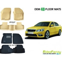 Ultra Light Bucket 4D Crocodile Floor Mats for Skoda Laura