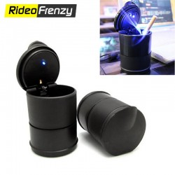 Premium Combo of Fancy Blue LED Light Ashtray & Stanley Car Cigarette Lighter 12V