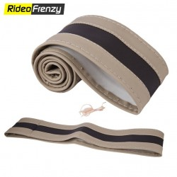 Premium Quality Original Leatherette Steering Cover-Beige & Black