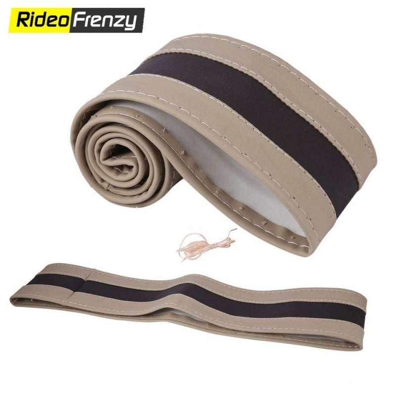 Premium Quality Original Leatherette Steering Cover-Beige & Black