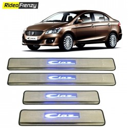 Buy Maruti Ciaz Door Stainless Steel Sill Plate with blue LED at low prices-RideoFrenzy
