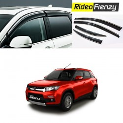Unbreakable Vitara Brezza chrome line Door Visors in ABS Plastic