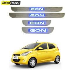 Buy Hyundai Eon Stainless Steel Door Scuff Sill Plate with blue LED at low prices-RideoFrenzy