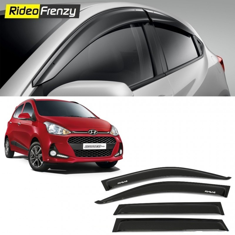 Buy Unbreakable Hyundai Grand i10 Door Visors in ABS Plastic at low prices-RideoFrenzy