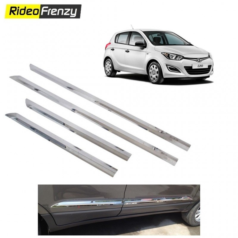 Buy Stainless Steel Hyundai i20 Chrome Side Beading at low prices-RideoFrenzy