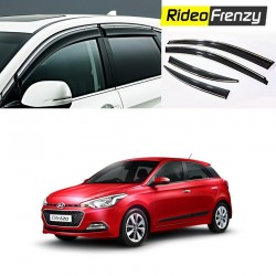Buy Unbreakable Hyundai Elite i20 Door Visors in ABS Plastic with Chrome lining at low prices-RideoFrenzy