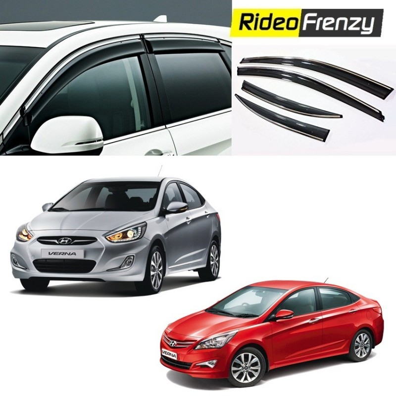 Buy Unbreakable Hyundai Verna Fluidic Door Visors In ABS Plastic With Chrome Lining At Low Prices RideoFrenzy