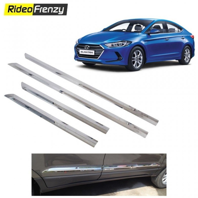 Buy Stainless Steel Hyundai Elantra Chrome Side Beading at low prices-RideoFrenzy